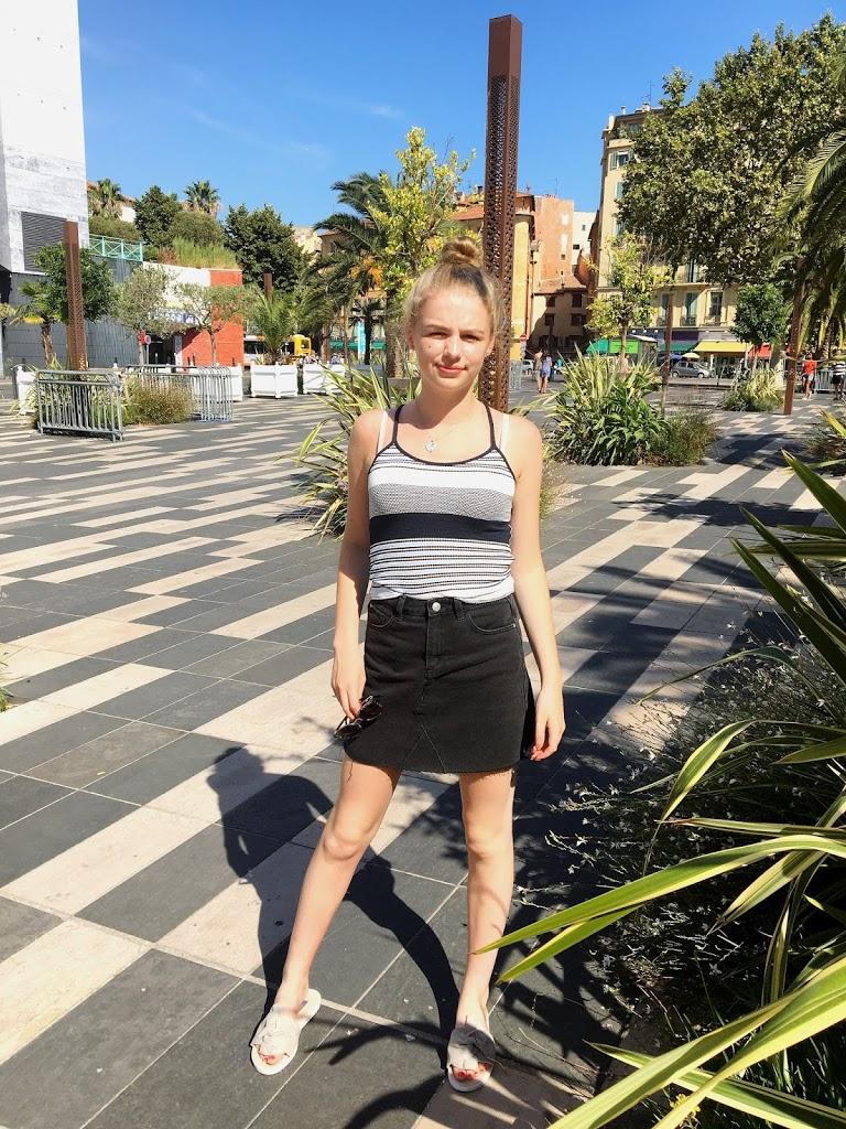 Black Denim Skirt & Suede Sliders